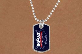 """<Br>         LEAD & NICKEL FREE!!<Br>    STERLING SILVER PLATED!!<bR>W13973N - LICENSED FLORIDA<Br>ATLANTIC UNIVERSITY """"OWLS""""<bR>     DOG TAG LOGO NECKLACE<Br>               AS LOW AS $3.50"""