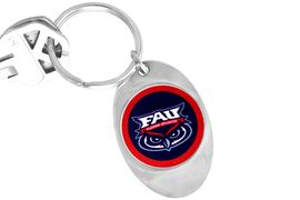 """<Br>             LEAD & NICKEL FREE!!<Br>        STERLING SILVER PLATED!!<bR>   W13974KC - LICENSED FLORIDA<Br>    ATLANTIC UNIVERSITY """"OWLS""""<Br>LOGO KEY CHAIN AS LOW AS $3.50"""