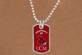 """<Br>             LEAD & NICKEL FREE!!<Br>       STERLING SILVER PLATED!!<bR>W13976N - LICENSED UNIVERSITY<br> OF CENTRAL MISSOURI """"MULES""""<bR>        DOG TAG LOGO NECKLACE<Br>                  AS LOW AS $3.50"""