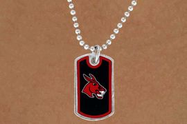 """<Br>             LEAD & NICKEL FREE!!<Br>       STERLING SILVER PLATED!!<bR>W13977N - LICENSED UNIVERSITY<br> OF CENTRAL MISSOURI """"MULES""""<bR>        DOG TAG LOGO NECKLACE<Br>                  AS LOW AS $3.50"""