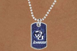 "<Br>               LEAD & NICKEL FREE!!<Br>         STERLING SILVER PLATED!!<bR> W14000N - LICENSED WASHBURN<Br>UNIVERSITY ""ICHABODS"" DOG TAG<bR> LOGO NECKLACE AS LOW AS $3.50"