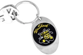 """<Br>                  LEAD & NICKEL FREE!!<Br>             STERLING SILVER PLATED!!<bR>W14310KC - LICENSED WICHITA STATE<br>       UNIVERSITY """"SHOCKERS"""" LOGO<Br>            KEY CHAIN AS LOW AS $1.99"""
