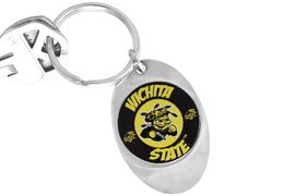 """<Br>                  LEAD & NICKEL FREE!!<Br>             STERLING SILVER PLATED!!<bR>W14312KC - LICENSED WICHITA STATE<br>       UNIVERSITY """"SHOCKERS"""" LOGO<Br>            KEY CHAIN AS LOW AS $1.99"""