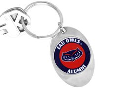 """<Br>                 LEAD & NICKEL FREE!!<Br>           STERLING SILVER PLATED!!<bR>     W14313KC - LICENSED FLORIDA<br>ATLANTIC UNIVERSITY """"OWLS"""" LOGO<Br>          KEY CHAIN AS LOW AS $1.99"""