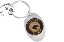 """<Br>                 LEAD & NICKEL FREE!!<Br>           STERLING SILVER PLATED!!<bR>W14321KC - LICENSED TEXAS STATE<Br>      UNIVERSITY """"BOBCATS""""  LOGO<Br>         KEY CHAIN AS LOW AS $1.99"""
