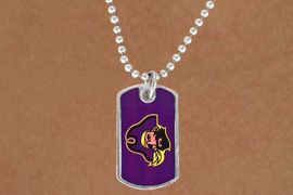 """<Br>                 LEAD & NICKEL FREE!!<Br>            STERLING SILVER PLATED!!<bR>W14336N - LICENSED EAST CAROLINA<Br>      UNIVERSITY """"PIRATES"""" DOG TAG<bR>     LOGO NECKLACE AS LOW AS $3.50"""