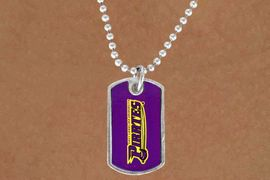 """<Br>                 LEAD & NICKEL FREE!!<Br>            STERLING SILVER PLATED!!<bR>W14338N - LICENSED EAST CAROLINA<Br>      UNIVERSITY """"PIRATES"""" DOG TAG<bR>     LOGO NECKLACE AS LOW AS $3.50"""