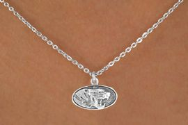 "<Br>            LEAD & NICKEL FREE!!<Br>       STERLING SILVER PLATED!!<bR>W14343N - LICENSED UNIVERSITY<Br>  OF  MISSOURI ""MIZZOU TIGERS""<Br>LOGO NECKLACE AS LOW AS $3.65"