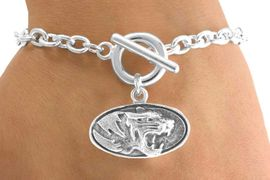 "<Br>                LEAD & NICKEL FREE!!<Br>           STERLING SILVER PLATED!!<bR>W14345B - LICENSED UNIVERSITY OF<Br>  MISSOURI ""MIZZOU TIGERS"" LOGO<Br>          BRACELET AS LOW AS $3.65"