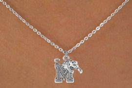 """<Br>            LEAD & NICKEL FREE!!<Br>       STERLING SILVER PLATED!!<bR>W14349N - LICENSED UNIVERSITY<Br>     OF MEMPHIS """"TIGERS"""" LOGO<Br>      NECKLACE AS LOW AS $3.65"""