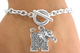 """<Br>              LEAD & NICKEL FREE!!<Br>         STERLING SILVER PLATED!!<bR> W14351B - LICENSED UNIVERSITY<Br>      OF MEMPHIS """"TIGERS"""" LOGO<BR>        BRACELET AS LOW AS $3.65"""