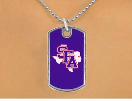 <Br>          LEAD & NICKEL FREE!!<Br>     STERLING SILVER PLATED!!<bR> W15759N - LICENSED STEPHEN<Br>   F. AUSTIN STATE UNIVERSITY<Br>        LUMBERJACKS DOG TAG<br>NECKLACE FROM $3.94 TO $8.75