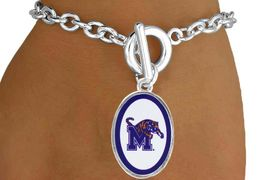 """<Br>               LEAD & NICKEL FREE!!<Br>         STERLING SILVER PLATED!!<bR> W16660B - LICENSED UNIVERSITY<Br>      OF MEMPHIS """"TIGERS"""" LOGO<BR>  OVAL BRACELET AS LOW AS $3.65"""