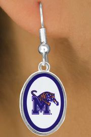 """<Br>               LEAD & NICKEL FREE!!<Br>         STERLING SILVER PLATED!!<bR> W16661E - LICENSED UNIVERSITY<Br>      OF MEMPHIS """"TIGERS"""" LOGO<Br>   EARRINGS FROM $3.94 TO $8.75"""