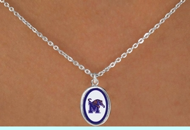 """<Br>              LEAD & NICKEL FREE!!<Br>         STERLING SILVER PLATED!!<bR>W16662N - LICENSED UNIVERSITY<Br>      OF MEMPHIS """"TIGERS"""" LOGO<Br>  NECKLACE FROM $3.94 TO $8.75"""