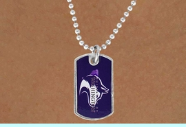 """<Br>             LEAD & NICKEL FREE!!<Br>       STERLING SILVER PLATED!!<bR>W16667N - LICENSED UNIVERSITY<Br>     OF WASHINGTON """"HUSKIES""""<br>    DOG TAG MASCOT NECKLACE<BR>             FROM $3.94 TO $8.75"""