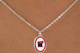 """<Br>               LEAD & NICKEL FREE!!<Br>         STERLING SILVER PLATED!!<bR> W16671N - LICENSED UNIVERSITY<Br>OF MARYLAND """"TERRAPINS"""" LOGO<Br>   NECKLACE FROM $3.94 TO $8.75"""