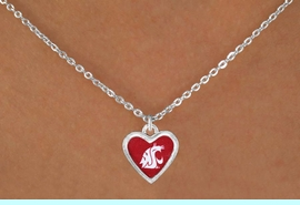 """<Br>                 LEAD & NICKEL FREE!!<Br>           STERLING SILVER PLATED!!<bR> W16677N - LICENSED WASHINGTON<Br>STATE UNIVERSITY """"COUGARS"""" LOGO<Br>     NECKLACE FROM $3.94 TO $8.75"""