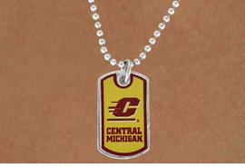 "<Br>                LEAD & NICKEL FREE!!<Br>          STERLING SILVER PLATED!!<bR>      W16870N - LICENSED CENTRAL<Br>MICHIGAN UNIVERSITY ""CHIPPEWAS""<Br>     DOG TAG LOGO NECKLACE FROM<Br>                       $3.94 TO $8.75"