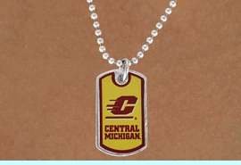 """<Br>                LEAD & NICKEL FREE!!<Br>          STERLING SILVER PLATED!!<bR>      W16870N - LICENSED CENTRAL<Br>MICHIGAN UNIVERSITY """"CHIPPEWAS""""<Br>     DOG TAG LOGO NECKLACE FROM<Br>                       $3.94 TO $8.75"""