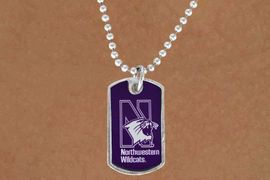 """<Br>                    LEAD & NICKEL FREE!!<Br>              STERLING SILVER PLATED!!<bR>W16896N - LICENSED NORTHWESTERN<Br>     UNIVERSITY """"WILDCATS"""" DOG TAG<Br>        NECKLACE FROM $3.94 TO $8.75"""