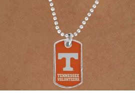 "<Br>             LEAD & NICKEL FREE!!<Br>       STERLING SILVER PLATED!!<bR>W16915N - LICENSED UNIVERSITY<BR>   OF TENNESSEE ""VOLUNTEERS""<br>       DOG TAG LOGO NECKLACE<br>             FROM $3.94 TO $8.75"