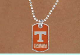 """<Br>             LEAD & NICKEL FREE!!<Br>       STERLING SILVER PLATED!!<bR>W16915N - LICENSED UNIVERSITY<BR>   OF TENNESSEE """"VOLUNTEERS""""<br>       DOG TAG LOGO NECKLACE<br>             FROM $3.94 TO $8.75"""