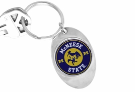 """<Br>             LEAD & NICKEL FREE!!<Br>       STERLING SILVER PLATED!!<bR>W16946KC - LICENSED MCNEESE<br>  STATE UNIVERSITY """"COWBOYS""""<Br> KEY CHAIN FROM $3.94 TO $8.75"""
