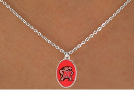 "<Br>               LEAD & NICKEL FREE!!<Br>         STERLING SILVER PLATED!!<bR> W16951N - LICENSED UNIVERSITY<Br>OF MARYLAND ""TERRAPINS"" LOGO<Br>   NECKLACE FROM $3.94 TO $8.75"