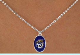 """<Br>              LEAD & NICKEL FREE!!<Br>         STERLING SILVER PLATED!!<bR>  W16976N - LICENSED SOUTHERN<Br>UNIVERSITY """"JAGUARS"""" NECKLACE<BR>               FROM $3.94 TO $8.75"""