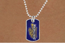 "<Br>             LEAD & NICKEL FREE!!<Br>       STERLING SILVER PLATED!!<bR>W16979N - LICENSED SOUTHERN<Br>UNIVERSITY ""JAGUARS"" DOG TAG<Br> NECKLACE FROM $3.94 TO $8.75"