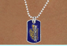 """<Br>             LEAD & NICKEL FREE!!<Br>       STERLING SILVER PLATED!!<bR>W16979N - LICENSED SOUTHERN<Br>UNIVERSITY """"JAGUARS"""" DOG TAG<Br> NECKLACE FROM $3.94 TO $8.75"""