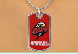 """<Br>                LEAD & NICKEL FREE!!<Br>          STERLING SILVER PLATED!!<bR>   W16989N - LICENSED SOUTHERN<Br>UTAH UNIVERSITY """"THUNDERBIRDS""""<Br>          DOG TAG NECKLACE FROM<Br>                      $3.94 TO $8.75"""