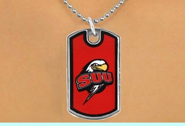 """<Br>                LEAD & NICKEL FREE!!<Br>          STERLING SILVER PLATED!!<bR>   W16991N - LICENSED SOUTHERN<Br>UTAH UNIVERSITY """"THUNDERBIRDS""""<Br>          DOG TAG NECKLACE FROM<Br>                       $3.94 TO $8.75"""