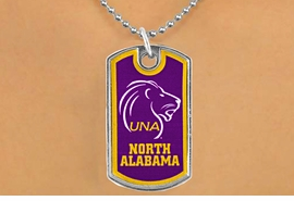 "<Br>              LEAD & NICKEL FREE!!<Br>        STERLING SILVER PLATED!!<bR>W17004N - LICENSED UNIVERSITY<Br>     OF NORTH ALABAMA ""LIONS""<bR>        DOG TAG NECKLACE FROM<br>                     $3.94 TO $8.75"