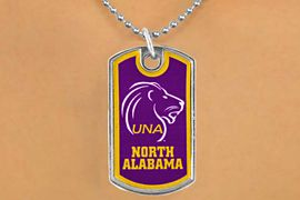 """<Br>              LEAD & NICKEL FREE!!<Br>        STERLING SILVER PLATED!!<bR>W17004N - LICENSED UNIVERSITY<Br>     OF NORTH ALABAMA """"LIONS""""<bR>        DOG TAG NECKLACE FROM<br>                     $3.94 TO $8.75"""