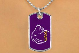 """<Br>              LEAD & NICKEL FREE!!<Br>        STERLING SILVER PLATED!!<bR>W17006N - LICENSED UNIVERSITY<Br>     OF NORTH ALABAMA """"LIONS""""<bR>        DOG TAG NECKLACE FROM<br>                    $1.99"""