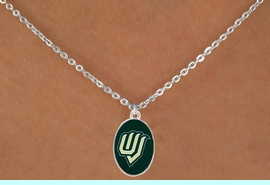 """<Br>                  LEAD & NICKEL FREE!!<Br>            STERLING SILVER PLATED!!<bR>     W17013N - LICENSED UTAH VALLEY<Br>UNIVERSITY """"WOLVERINES"""" NECKLACE<BR>                  FROM $3.94 TO $8.75"""