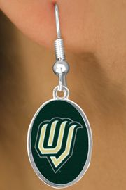"""<Br>               LEAD & NICKEL FREE!!<Br>         STERLING SILVER PLATED!!<bR>         W17014E - LICENSED UTAH<Br>VALLEY UNIVERSITY """"WOLVERINES""""<Br>    EARRINGS FROM $3.94 TO $8.75"""