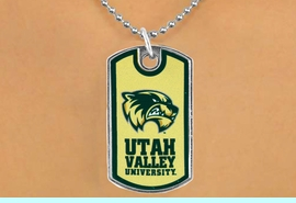 """<Br>                LEAD & NICKEL FREE!!<Br>          STERLING SILVER PLATED!!<bR>         W17021N - LICENSED UTAH<Br>VALLEY UNIVERSITY """"WOLVERINES""""<br>          DOG TAG NECKLACE FROM <Br>                      $3.94 TO $8.75"""