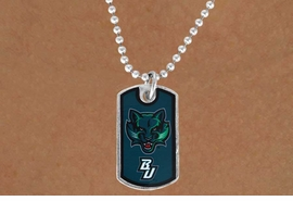 "<Br>                LEAD & NICKEL FREE!!<Br>          STERLING SILVER PLATED!!<bR>W17025N - LICENSED BINGHAMTON<Br> UNIVERSITY ""BEARCATS"" DOG TAG<br>    NECKLACE FROM $3.94 TO $8.75"