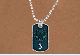 """<Br>                LEAD & NICKEL FREE!!<Br>          STERLING SILVER PLATED!!<bR>W17025N - LICENSED BINGHAMTON<Br> UNIVERSITY """"BEARCATS"""" DOG TAG<br>    NECKLACE FROM $3.94 TO $8.75"""