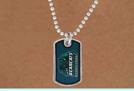 """<Br>                LEAD & NICKEL FREE!!<Br>          STERLING SILVER PLATED!!<bR>W17027N - LICENSED BINGHAMTON<Br> UNIVERSITY """"BEARCATS"""" DOG TAG<br>    NECKLACE FROM $3.94 TO $8.75"""