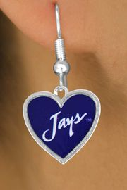 """<Br>              LEAD & NICKEL FREE!!<Br>        STERLING SILVER PLATED!!<bR> W17032E - LICENSED CREIGHTON<Br>UNIVERSITY """"BLUJAYS"""" EARRINGS<Br>              FROM $3.94 TO $8.75"""