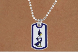 "<Br>              LEAD & NICKEL FREE!!<Br>        STERLING SILVER PLATED!!<bR> W17034N - LICENSED CREIGHTON<Br>UNIVERSITY ""BLUEJAYS"" DOG TAG<br>  NECKLACE FROM $3.94 TO $8.75"