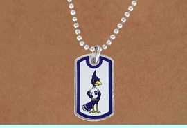 """<Br>              LEAD & NICKEL FREE!!<Br>        STERLING SILVER PLATED!!<bR> W17034N - LICENSED CREIGHTON<Br>UNIVERSITY """"BLUEJAYS"""" DOG TAG<br>  NECKLACE FROM $3.94 TO $8.75"""