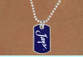 """<Br>              LEAD & NICKEL FREE!!<Br>        STERLING SILVER PLATED!!<bR> W17036N - LICENSED CREIGHTON<Br>UNIVERSITY """"BLUEJAYS"""" DOG TAG<br>  NECKLACE FROM $3.94 TO $8.75"""