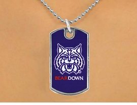 "<Br>             LEAD & NICKEL FREE!!<Br>       STERLING SILVER PLATED!!<bR>W17054N - LICENSED UNIVERSITY<Br>  OF ARIZONA ""WILDCATS"" LOGO<br>       DOG TAG LOGO  NECKLACE<BR>             FROM $1.99"