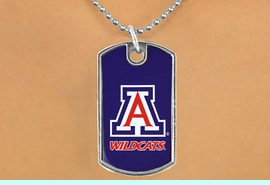 """<Br>             LEAD & NICKEL FREE!!<Br>       STERLING SILVER PLATED!!<bR>W17056N - LICENSED UNIVERSITY<Br>  OF ARIZONA """"WILDCATS"""" LOGO<br>       DOG TAG LOGO  NECKLACE<BR>             FROM $1.99"""