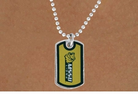 "<Br>             LEAD & NICKEL FREE!!<Br>       STERLING SILVER PLATED!!<bR> W17078N - LICENSED MISSOURI<Br>   SOUTHERN STATE UNIVERSITY<Br>         ""LIONS"" DOG TAG LOGO<BR> NECKLACE FROM $3.94 TO $8.75"
